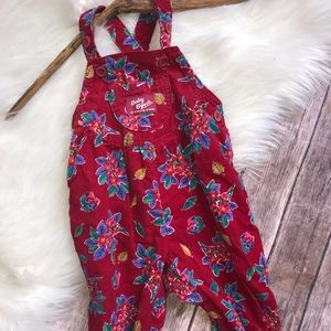 Vtg Oshkosh Corduroy Floral Footed Overalls